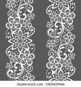 Lace seamless vector pattern, repetitive ornamental textile or embroidery design in white on gray background. Embroidery decoration inspired by French and English lace art, vintage style - wedding
