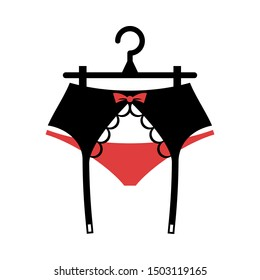 Lace suspender belt on the hanger. Isolated vector illustration