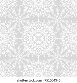 Lace texture. White Texture. White on gray. Seamless vector background with abstract geometric pattern.