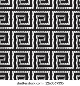 Lace textured geometric modern greek vector seamless pattern. Ornate black and white grid lattice patterned greek key meanders ornament. Ornamental abstract ancient style background. Grunge design