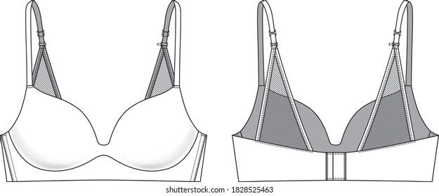 Lace triangle back Bra technical illustration. Editable lingerie flat fashion sketch