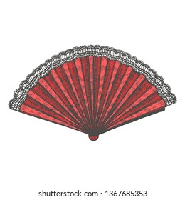 Laced Fan. Isolated Women Accessory in Hand Drawn Style for Surface Design Fliers Prints Cards Banners. Vector Illustration