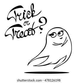 """Laconic Halloween card with a cute shy ghost and hand drawn lettering """"Trick or treat"""". Black and white vector illustration isolated on white."""