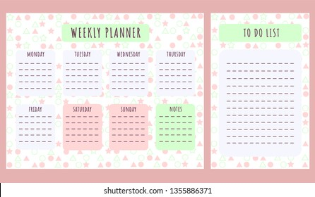 Laconic weekly planner for girls. Vector illustration.