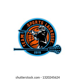 Lacrosse American Sports Badge Logo Template Vector