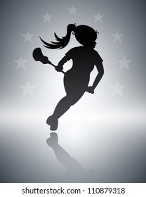 Lacrosse Background (Girls lacrosse background with copy space)