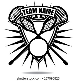 Lacrosse badge icon symbol EPS 10 vector, grouped for easy editing. No open shapes or paths.