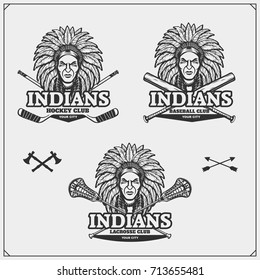 Lacrosse, baseball and hockey logos and labels. Sport club emblems with indian chief.