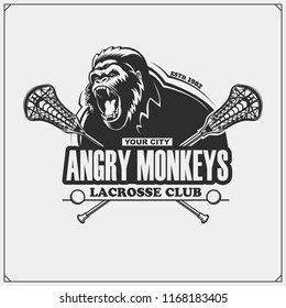 Lacrosse club emblem with gorilla head.