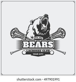 Lacrosse club emblem with head of bear.