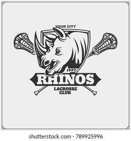 Lacrosse club emblem with rhino head.