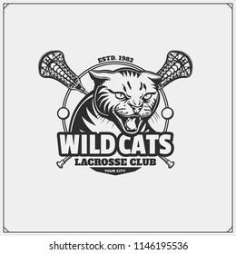 Lacrosse club emblem with wild cat head. Print design for t-shirt.