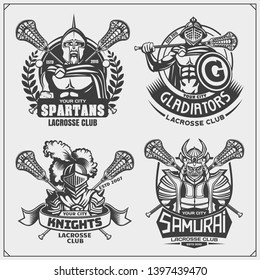 Lacrosse club emblems with ancient warriors. Print design for t-shirt.