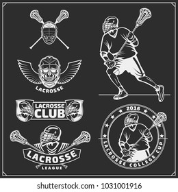 Lacrosse club labels, emblems, design elements and silhouettes of the players.