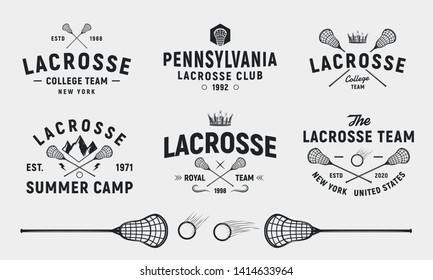 Lacrosse emblems, logos, badges templates. Set of 6 Lacrosse logos and 3 design elements.  Lacrosse stick and ball isolated on white background. Lacrosse team vector emblems
