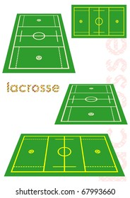 Lacrosse field in various perspective. Vector illustration.