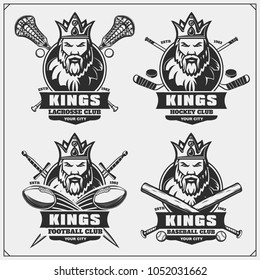 Lacrosse, football, baseball and hockey logos and labels. Sport club emblems with king.