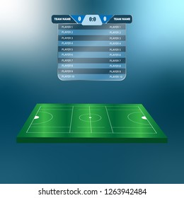 lacrosse Football Soccer Scoreboard Chart. Digital background vector illustration. lacrosse score.Versus screen