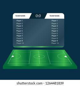 lacrosse Football Soccer Scoreboard Chart. Digital background vector illustration. Infographic lacrosse playground, tablet. Isometric image on blue background. Lacrosse score. versus screen