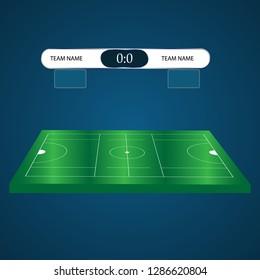 lacrosse Football Soccer Scoreboard Chart. vector illustration.Infographic lacrosse playground. Isometric image on blue background.Lacrosse score.Versus screen