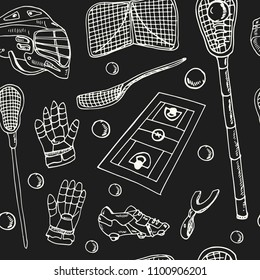 Lacrosse hand drawn doodle seamless pattern. ketches. Vector illustration for design and packages product. Symbol collection.