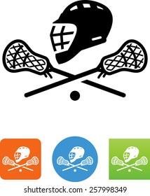 Lacrosse helmet and sticks icon