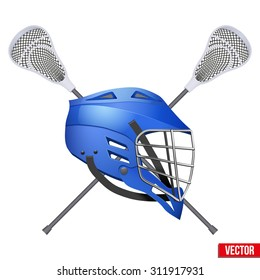 Lacrosse helmet and sticks. Symbol of sports. Vector illustration Isolated on white background.