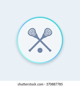Lacrosse icon, sign, crossed crosses, lacrosse sticks and ball round icon, vector illustration