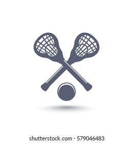 Lacrosse icon with sticks and ball isolated on white