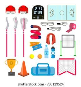Lacrosse Icons Set Vector. Lacrosse Accessories. Gates, Net, Glasses, Mask, Stick, Helmet, Box, Timer, Plotter, Ball. Isolated Flat Cartoon Illustration