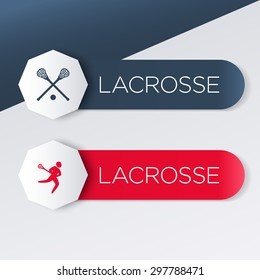 Lacrosse logo, icon, banner, label in blue and red, vector illustration, eps10, easy to edit