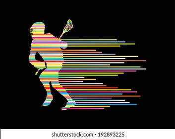 Lacrosse player in action vector background concept made of stripes