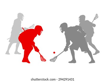 Lacrosse player in action winner concept vector background