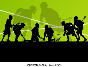 Lacrosse players active sport silhouettes vector abstract background illustration