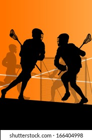 Lacrosse players active sports silhouettes background illustration vector