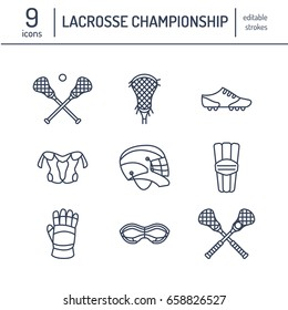 Lacrosse sport game vector line icons. Ball, stick, helmet, gloves, girls goggles. Linear signs set, championship pictograms