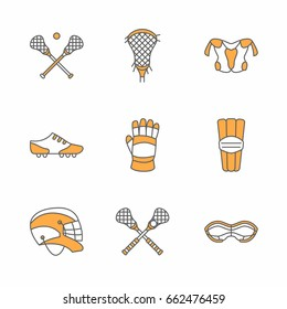 Lacrosse sport game vector line icons. Ball, stick, helmet, gloves, girls goggles. Linear colored signs set, championship pictograms with editable stroke