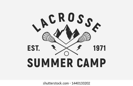 Lacrosse summer camp logo template. Trendy vintage design. Lacrosse sticks, ball and mountains isolated on white background. Lacrosse vector emblem