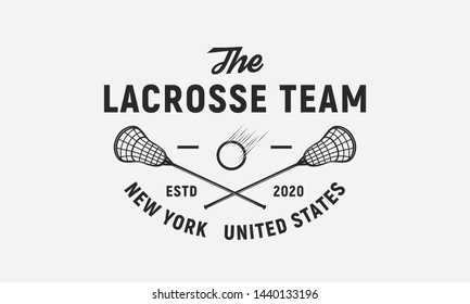 Lacrosse team logo, badge, label, emblem. Lacrosse sticks and ball isolated on white background. Lacrosse vector template
