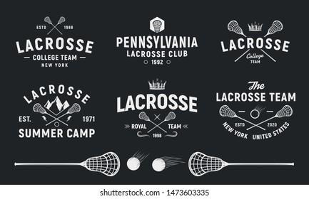 Lacrosse team vintage logo set. Lacrosse stick and ball isolated on black background. Vector illustration