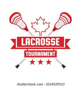 A lacrosse tournament crest featuring two crossed sticks and a maple leaf icon in vector format.