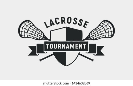 Lacrosse tournament logo, poster. Lacrosse sticks and shield isolated on white background. Vector template