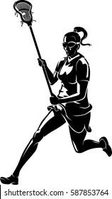 Lacrosse Woman Run Shadow
