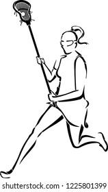 Lacrosse Woman Running Line Art