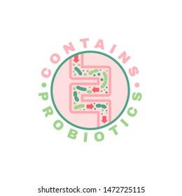 Lactobacillus Probiotics Circular Icon. Normal gram-positive anaerobic microflora sign. Editable vector illustration. Light green, pink colors. Modern style. Medical, healthcare and scientific concept