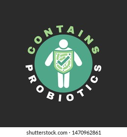 Lactobacillus Probiotics Icon. Normal gram-positive anaerobic microflora sign. Editable vector illustration in light green, white colors. Modern style. Medical, healthcare and scientific concept.