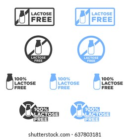 Lactose free icons set. Vector illustration.