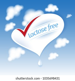 Lactose free natural fresh milk splash logo. Heart symbol on blue sky with clouds.
