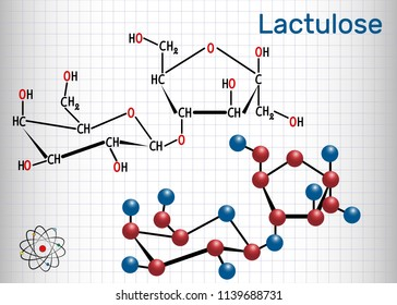 Lactulose molecule. It is used in the treatment of constipation. Structural chemical formula and molecule model. Sheet of paper in a cage. Vector illustration