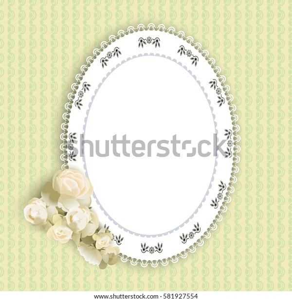 lacy doily and a rose on a green background, vector illustration